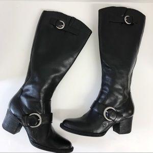 BORN Black Leather Zip Riding Boots Women's Size 6